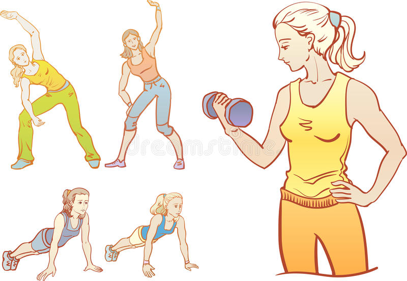Fitness: girls are training. royalty free illustration
