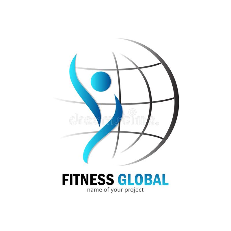 Fitness global logo vector illustration