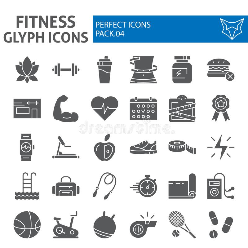 Free Fitness Glyph Icon Set, Sport Symbols Collection, Vector Sketches, Logo Illustrations, Workout Signs Solid Pictograms Stock Photos - 136175803
