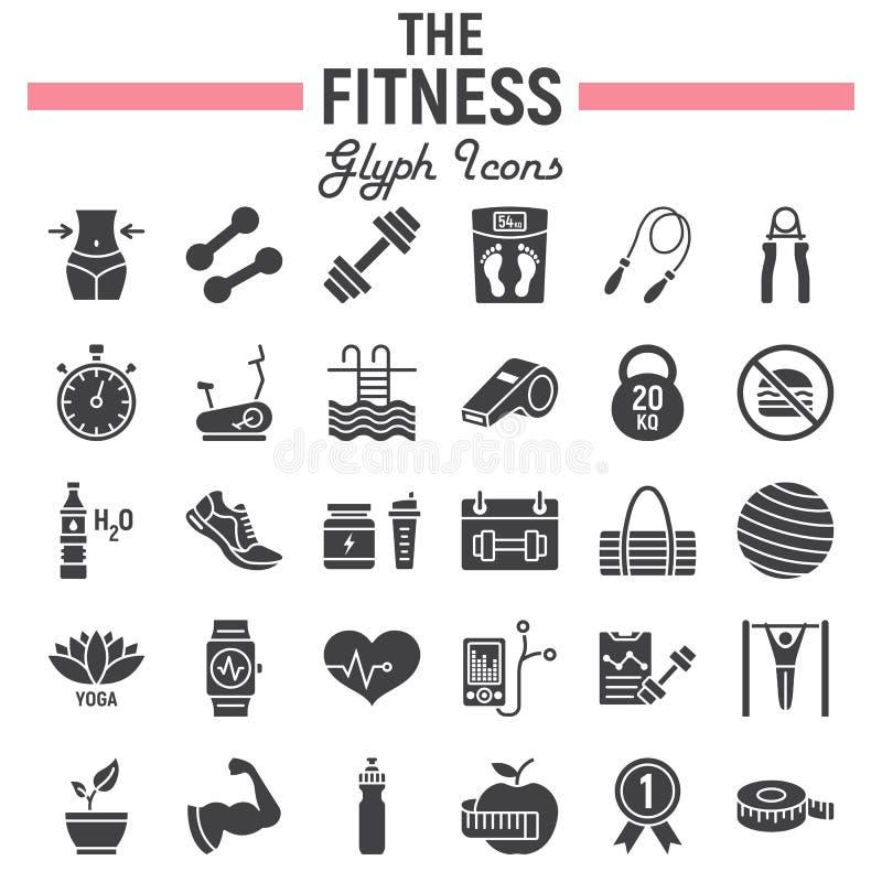 Fitness glyph pictogramreeks, de inzameling van sportsymbolen royalty-vrije stock fotografie