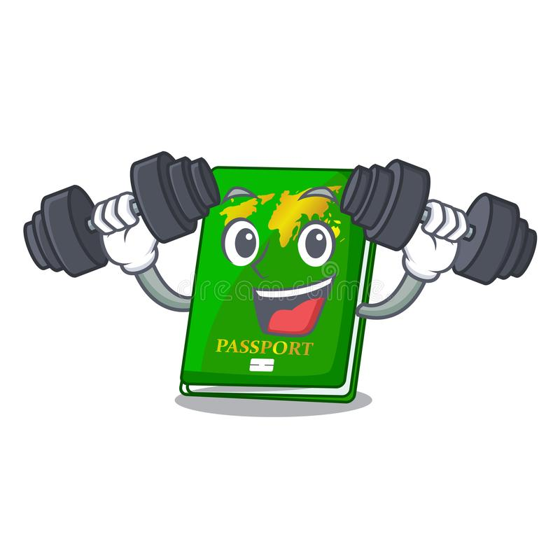 Fitness green passport in a character bag. Vector illustration vector illustration