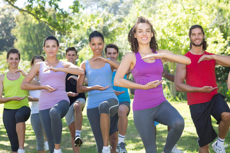 Fitness group doing tai chi in park. On a sunny day royalty free stock image