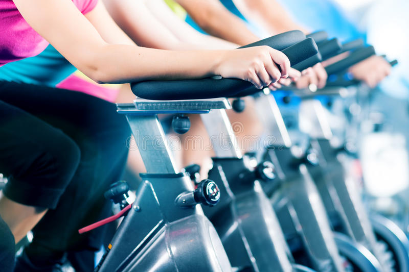 Fitness group Indoor bicycle cycling in gym royalty free stock photos