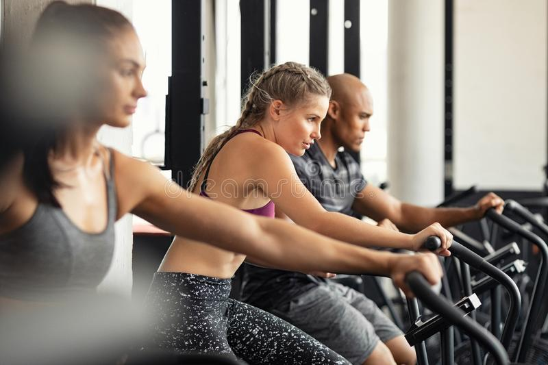 Fitness group training hardly on cycling machines. Group of determined multiethnic people at gym exercising on stationary bike. Concentrated fitness women royalty free stock photos