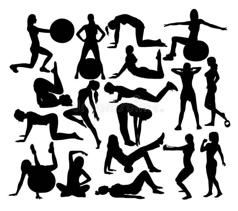 Fitness and Gym Activity Sport Silhouettes royalty free illustration