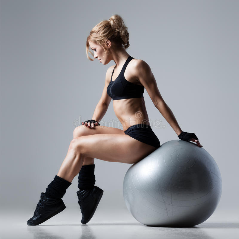 Fitness with gym ball royalty free stock photo