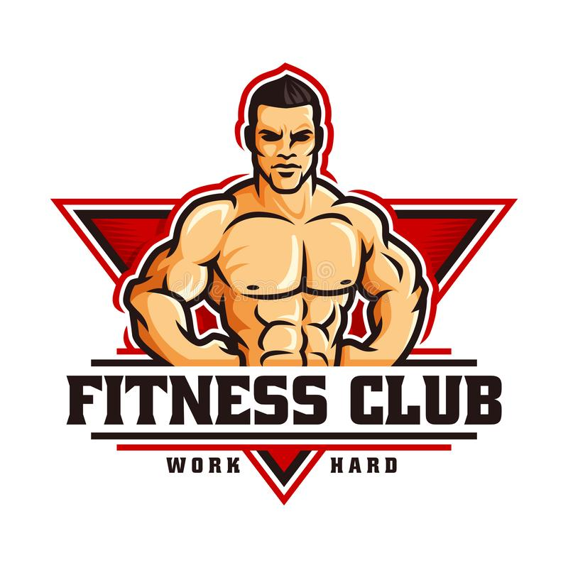 Fitness gym bodybuilder logo template in vector, with muscle man character vector illustration