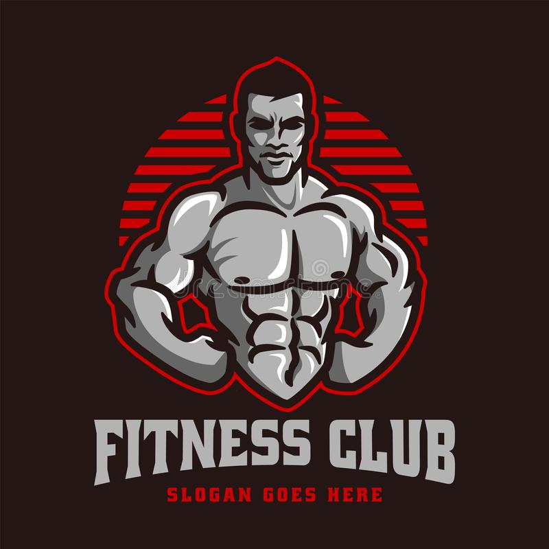 Fitness gym bodybuilder logo template in vector, with muscle man character or mascot stock illustration