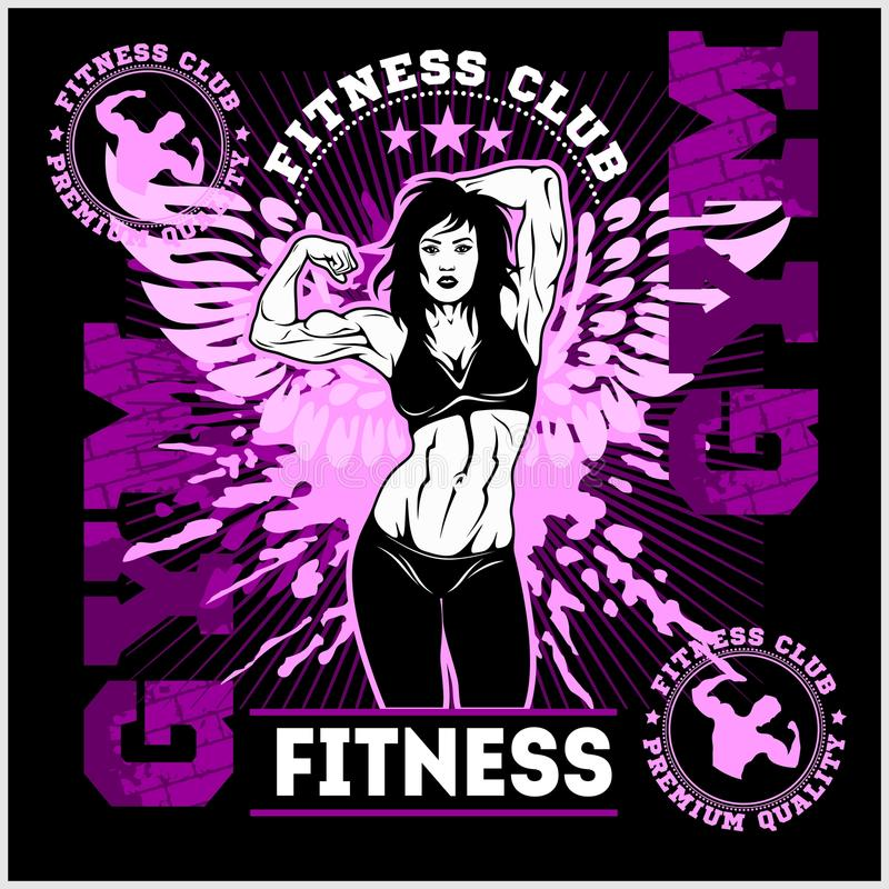Fitness or Gym center emblem. Athletic woman. royalty free illustration