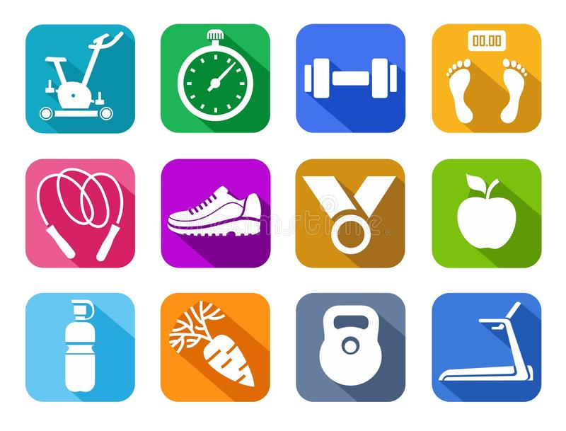 Fitness, gym, colored flat icons. royalty free illustration