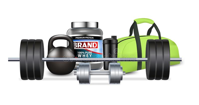 Fitness gym equipment and sport nutrition, vector realistic illustration vector illustration