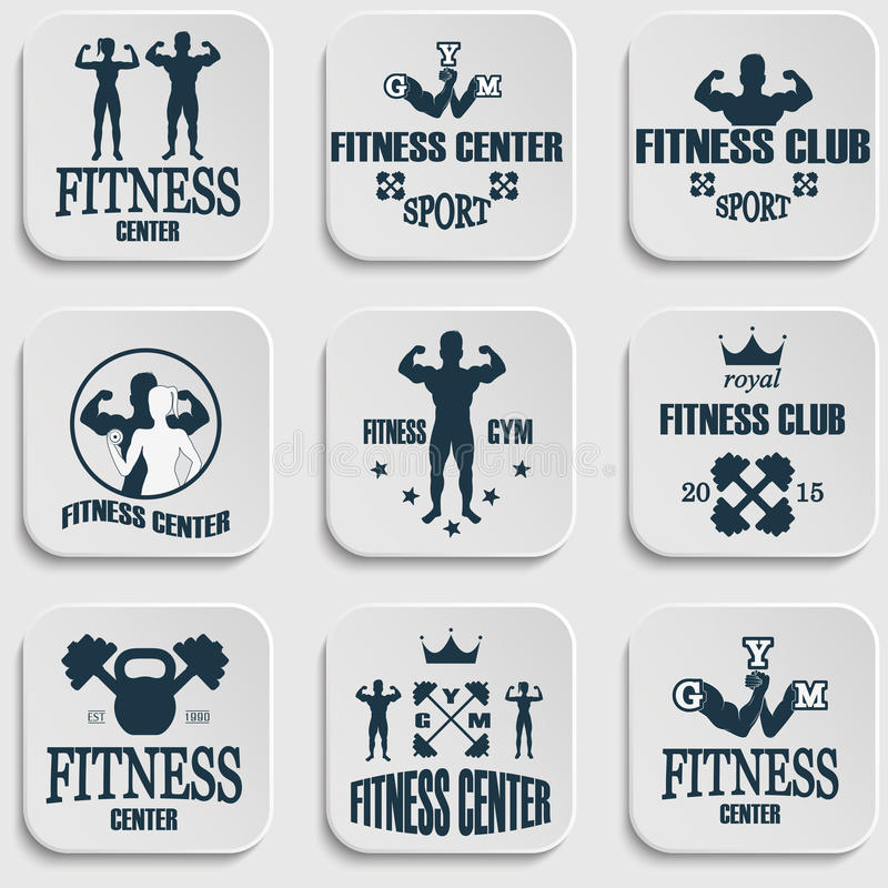 Fitness gym icons. Athletic labels and badges royalty free illustration