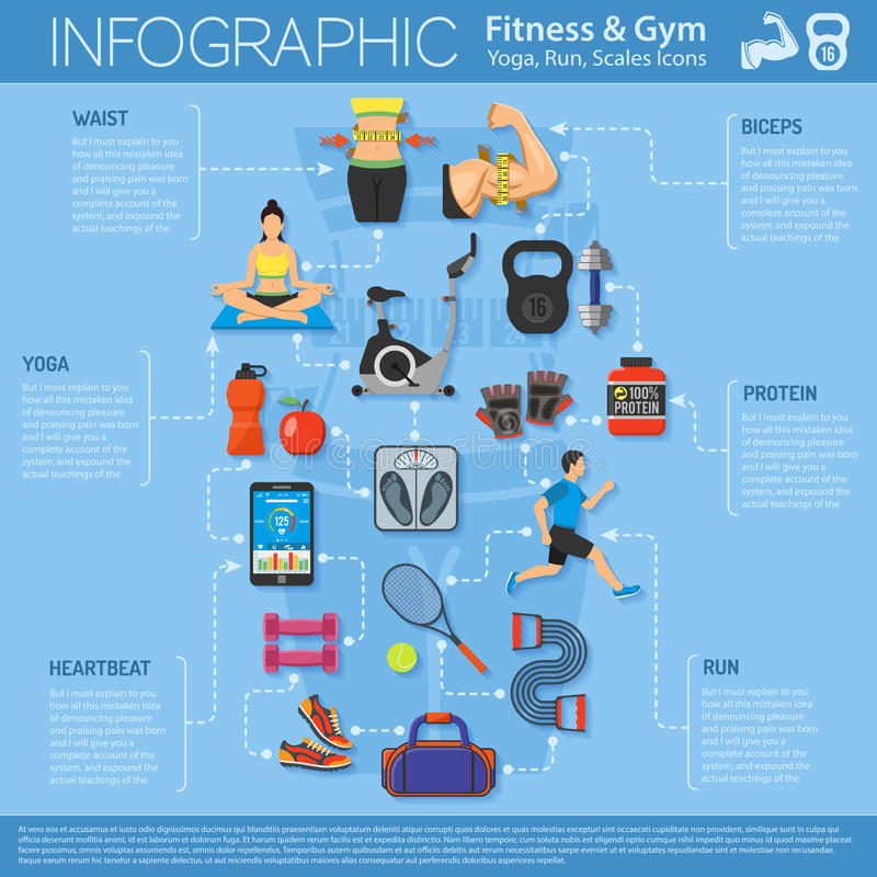Fitness and Gym Infographics. Fitness, Gym, Cardio, Yoga, Healthy Lifestyle Infographics for Mobile Applications, Web Site, Advertising with Exercise Bike vector illustration