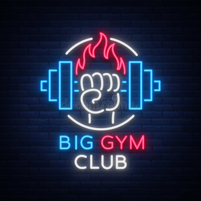 Fitness, gym logo sign in neon style isolated, vector illustration. A glowing banner, a bright neon sign, a night vector illustration