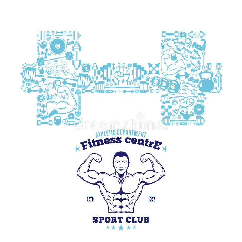 Fitness Gym Logo Template, Fitness Icons Pattern royalty free illustration