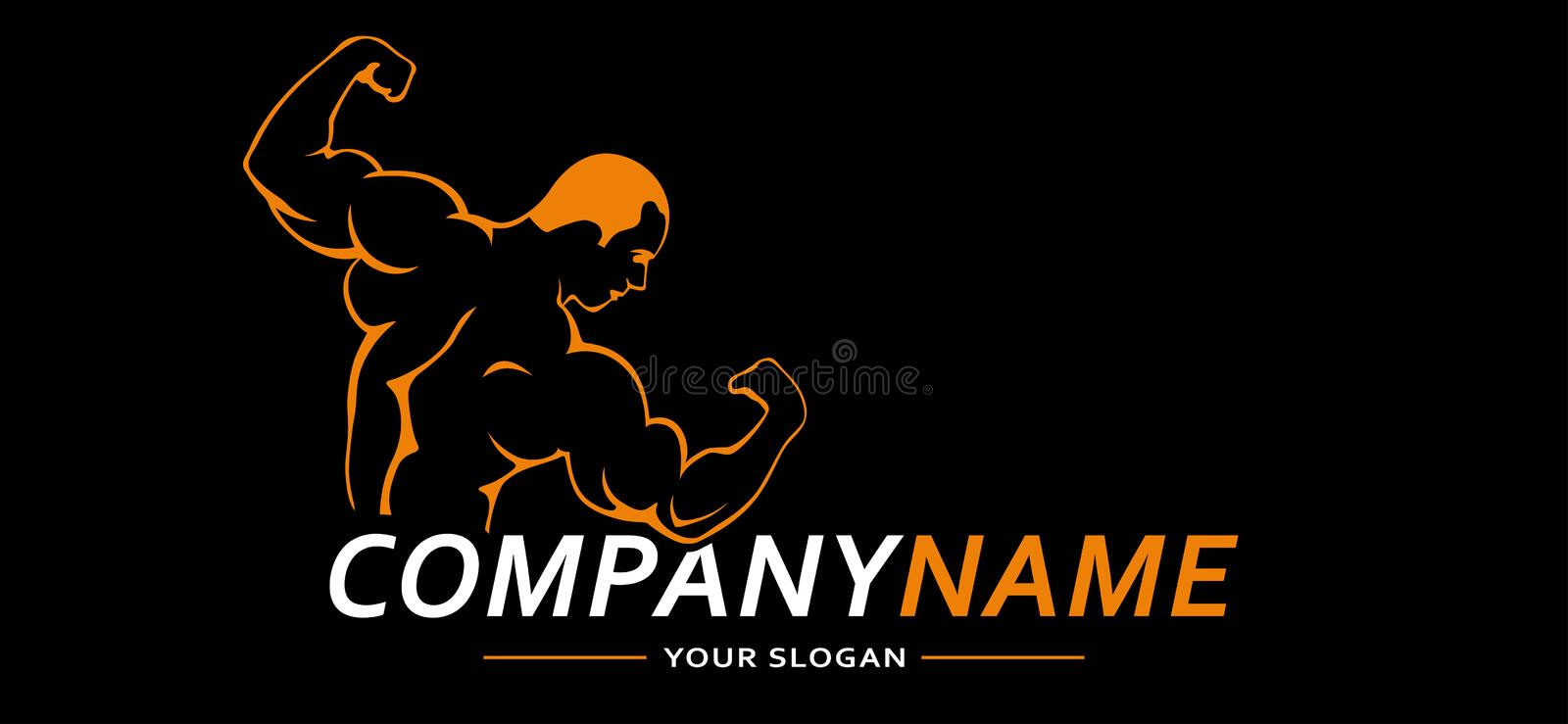 Fitness Gym Sport Man. Vector Logo. Vector illustration. royalty free stock photos
