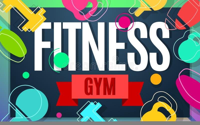 Fitness gym vector banner color design vector illustration