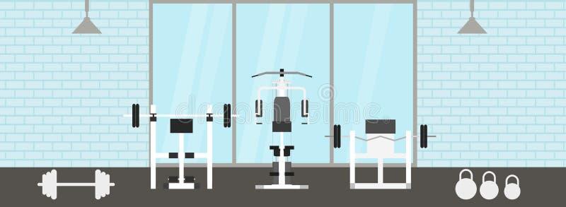 Fitness gymnastiek binnenlands malplaatje met sportenmateriaal en cardiomateriaal, hometrainer, elliptische tredmolens, stock illustratie
