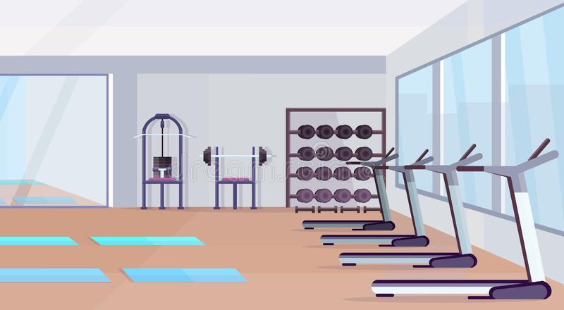 Fitness hall studio workout equipment healthy lifestyle concept empty no people gym interior with mats training. Apparatus dumbbells mirror and windows royalty free illustration