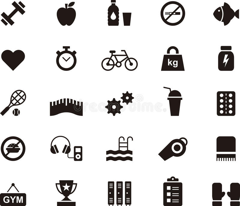 Fitness, health care and gym icon set stock illustration