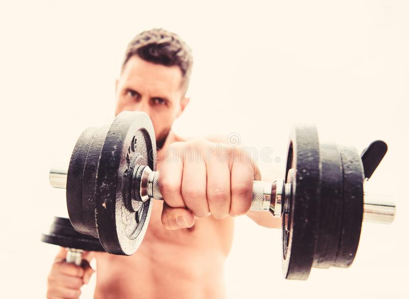 Fitness health diet. athletic body. Dumbbell gym. man sportsman with strong ab torso. steroids. Muscular man exercising stock photos