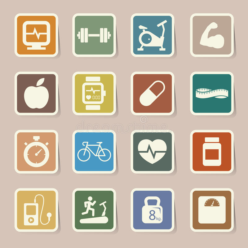 Download Fitness and Health icons. stock vector. Image of illustration - 32721352