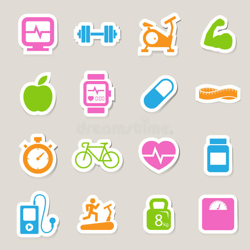 Fitness and Health icons. Illustration EPS10 royalty free illustration