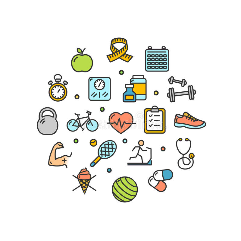 Fitness Health Life Round Design Template Thin Line Icon. Vector. Fitness Health Life Round Design Template Thin Line Icon Set Isolated on White Background vector illustration