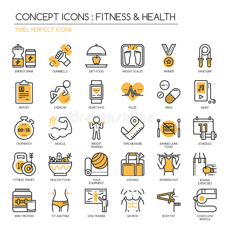 Fitness & Health , pixel perfect icon. Fitness & Health , thin line icons set ,pixel perfect icon royalty free illustration