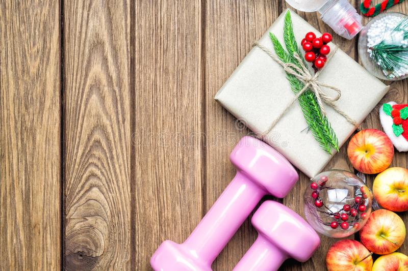 Fitness, healthy and active lifestyles Christmas gift concept, d stock images