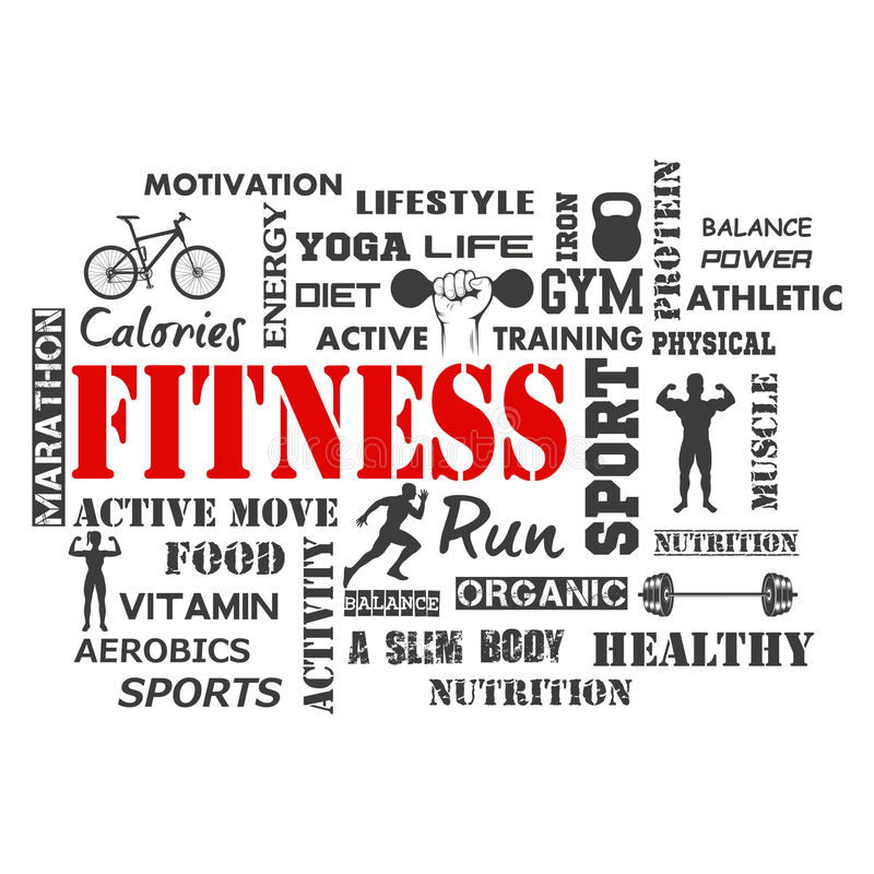 Fitness and Healthy Exercise Word vector illustration