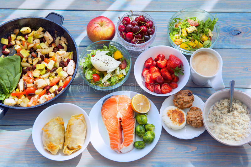 Fitness healthy food. Health & Fitness Food in lunch boxes. Set meal for the whole day royalty free stock photos