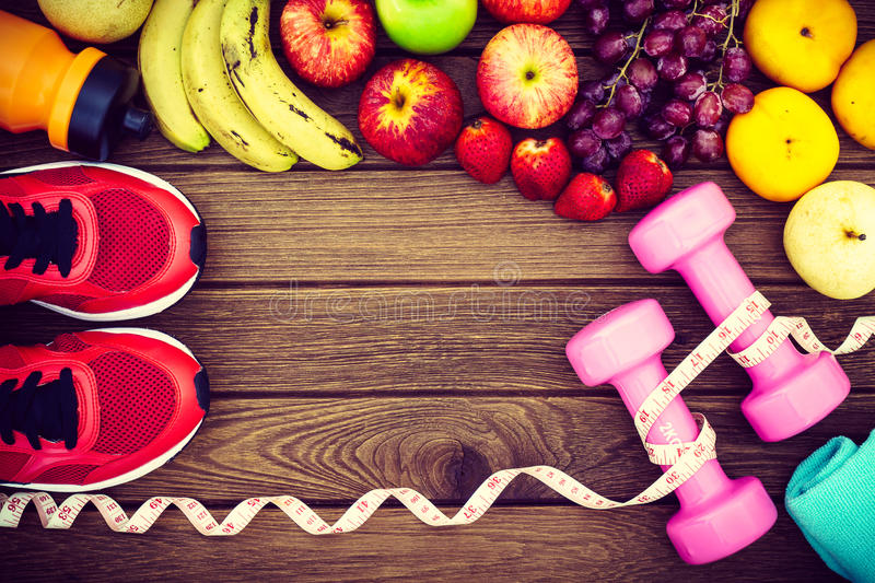 Fitness, healthy fruits fresh healthy salad, diet and active li stock photography