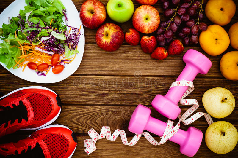 Fitness, healthy fruits fresh healthy salad, diet and active li royalty free stock photos