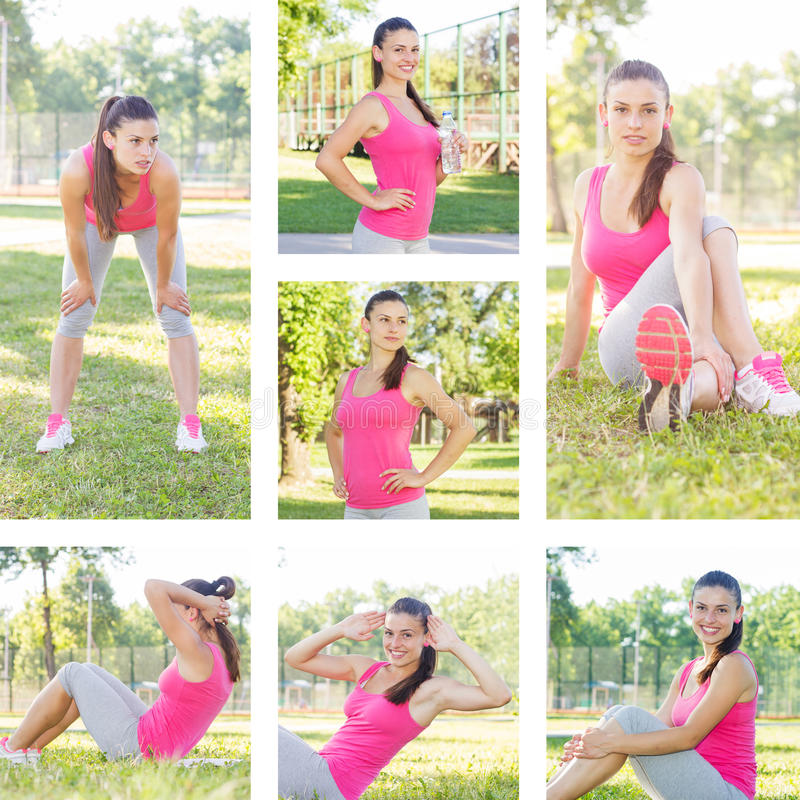 Fitness Healthy Lifestyle Female. Fitness Healthy Lifestyle, Collage of sporty female workout, beautiful summer day stock image