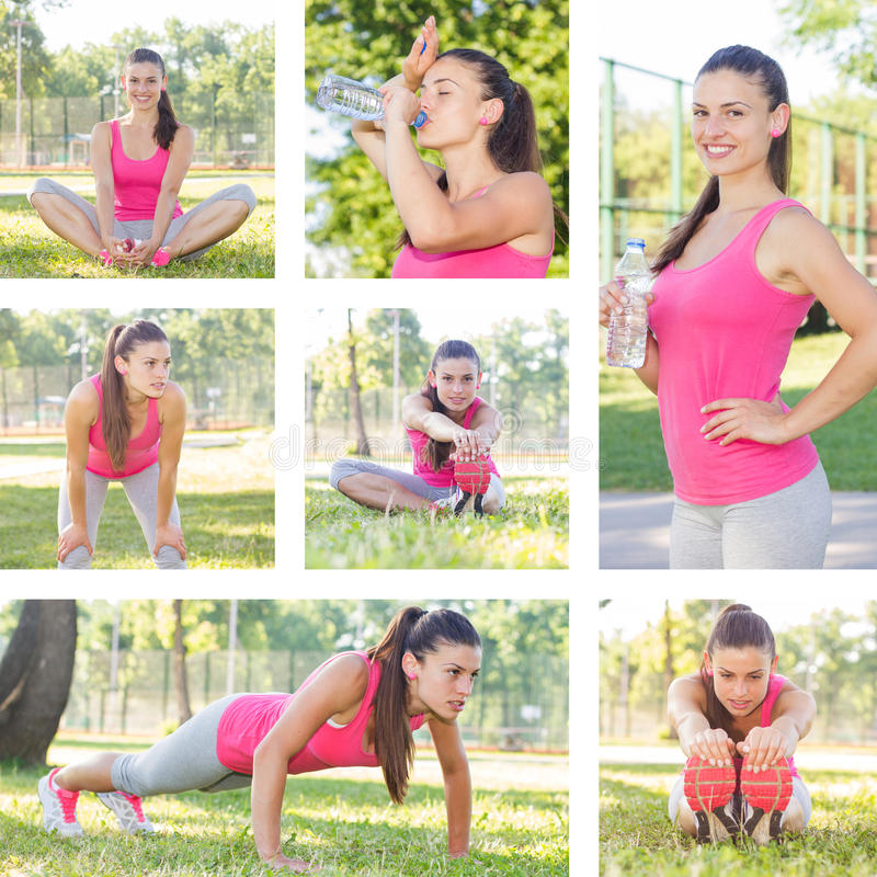 Fitness Healthy Lifestyle Female. Fitness Healthy Lifestyle, Collage of sporty female workout, beautiful summer day stock photos