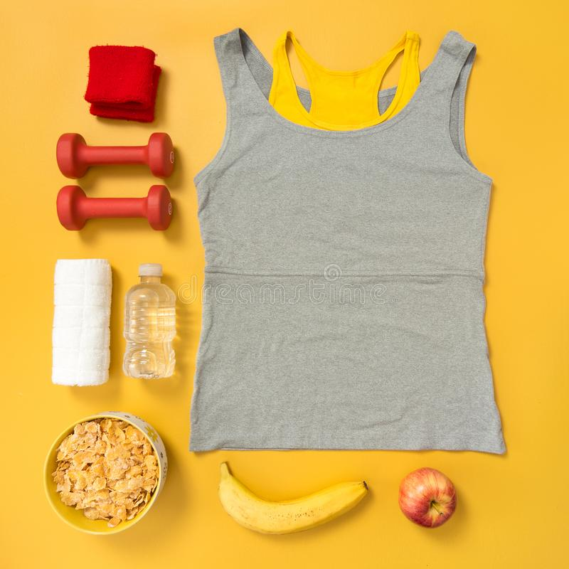 Fitness and healthy lifestyle flatlay royalty free stock images