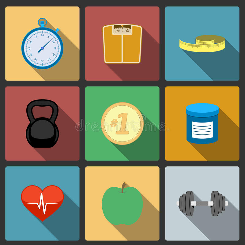 Download Fitness Healthy Lifestyle Icons Set Royalty Free Stock Photo - Image: 37675455