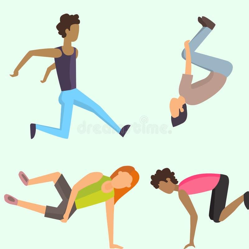 Fitness het conceptenjongere die van sport parkour mensen extreme lopende gevaarsgymnastiek springen die vector uitoefenen vector illustratie