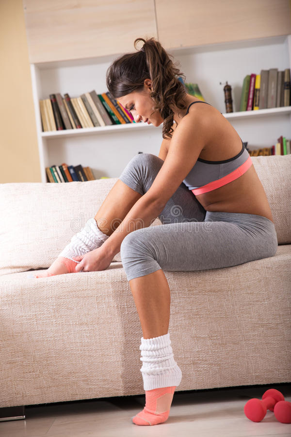 Fitness at home stock photos