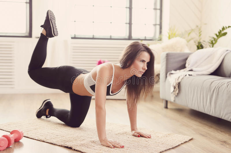 Fitness at home royalty free stock photography