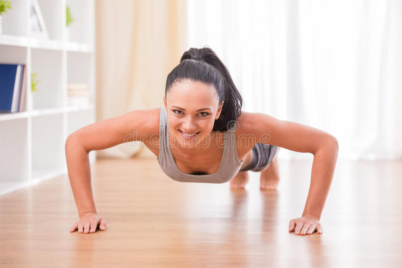 Fitness at home royalty free stock photos