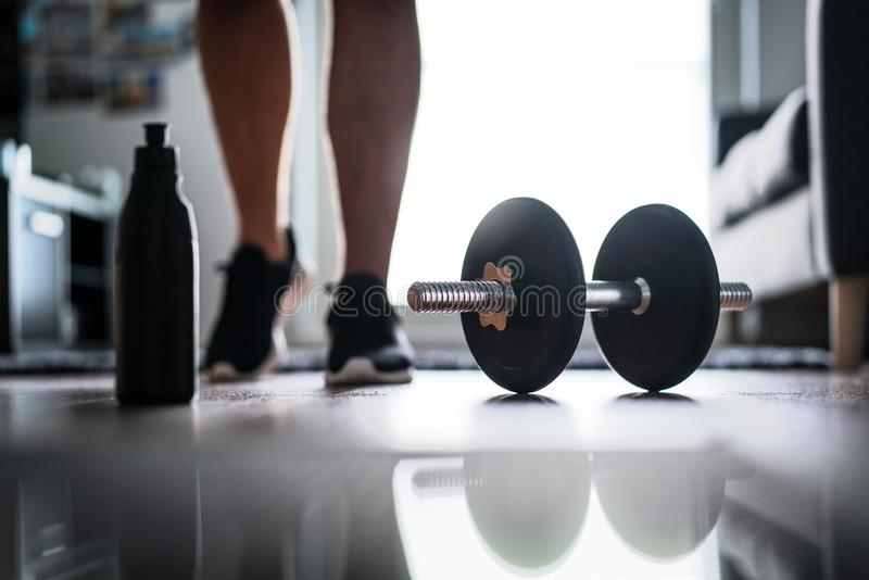 Fitness, home workout and weight training concept stock photo