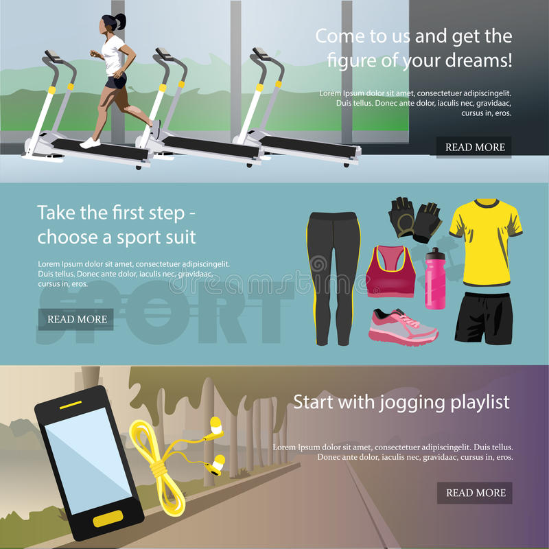 Fitness horizontal banners set. Sport equipment stock illustration