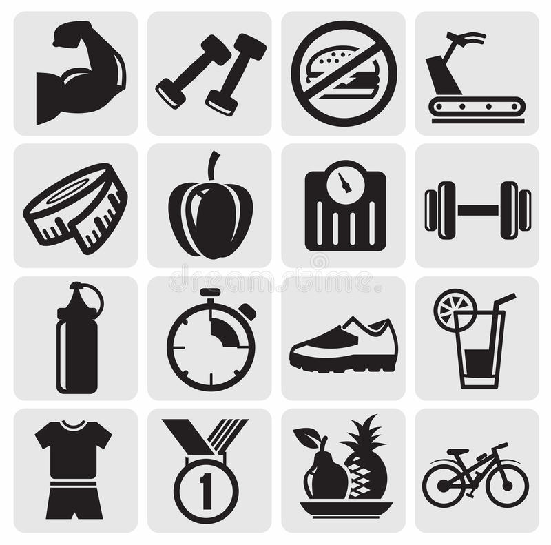 Download Fitness icons stock vector. Image of tools, measure, black - 25972884