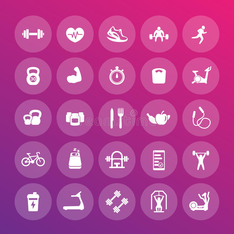25 fitness icons pack, gym, workout, exercises stock illustration