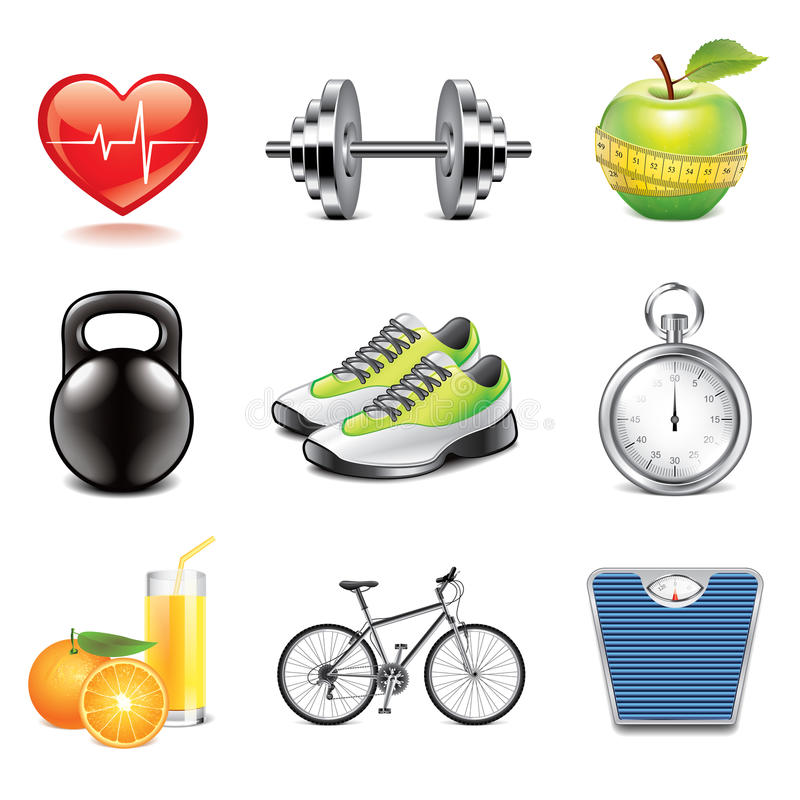 Download Fitness Icons Photo-realistic Vector Set Stock Vector - Image: 41000517