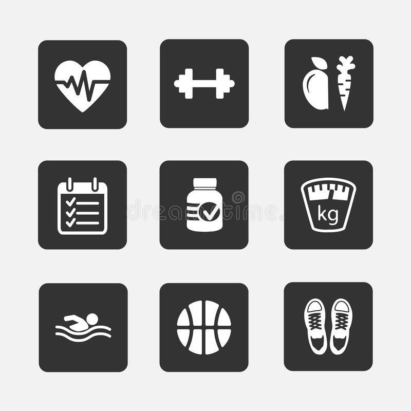 Fitness icons royalty free illustration