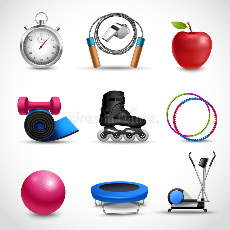 Fitness Icons Set. Fitness and sport icons set with stopwatch apple dumbbell isolated vector illustration royalty free illustration