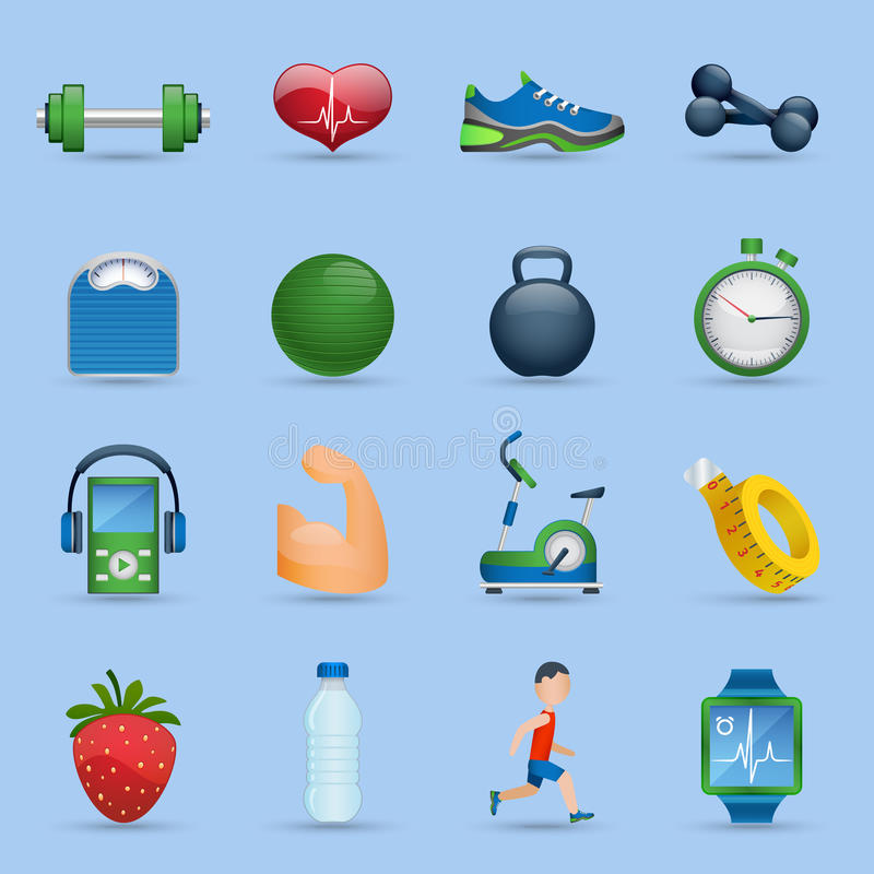 Fitness icons set. Fitness sports and good health cartoon icons set shadow on blue background isolated vector illustration stock illustration